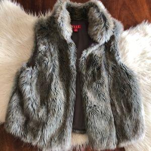 High collar faux fur vest